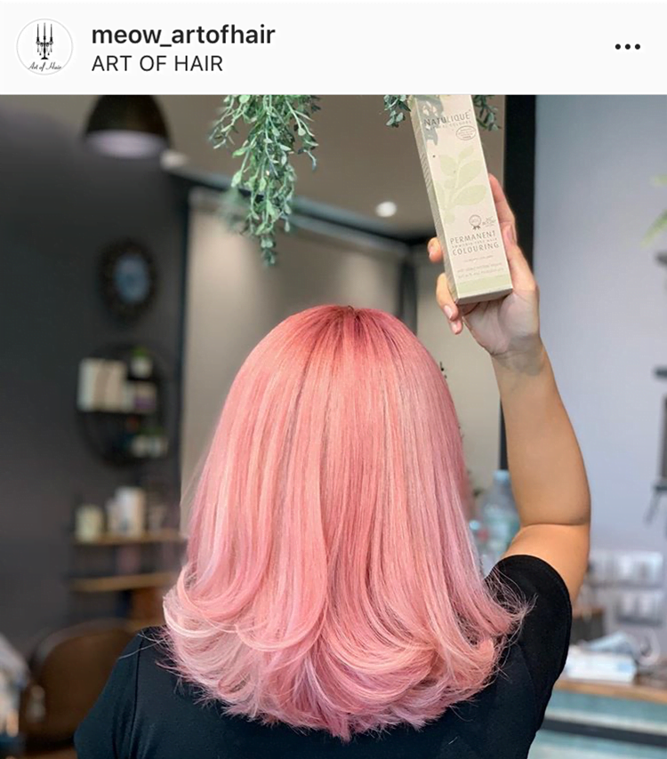 medium length pink hairstyle
