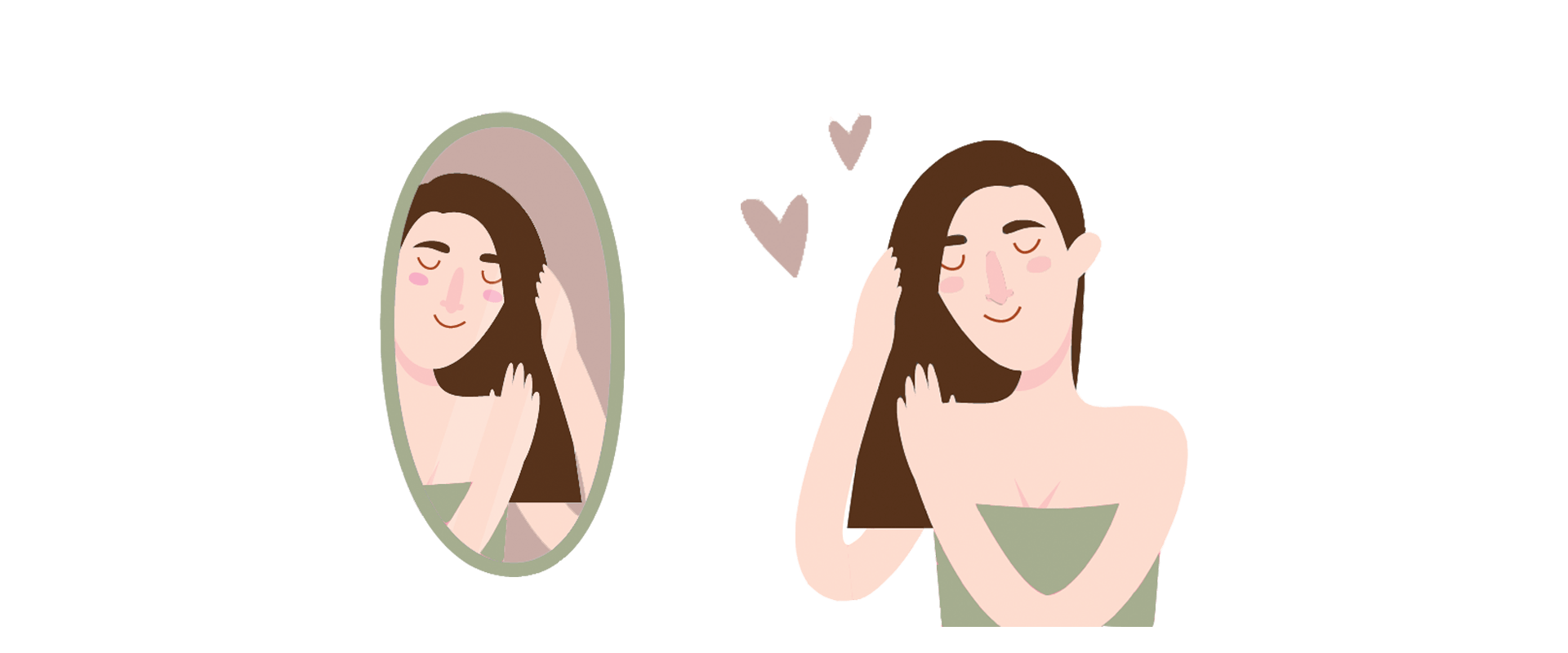 Illustration of a woman taking care of her hair